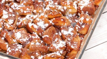 french toast casserole square