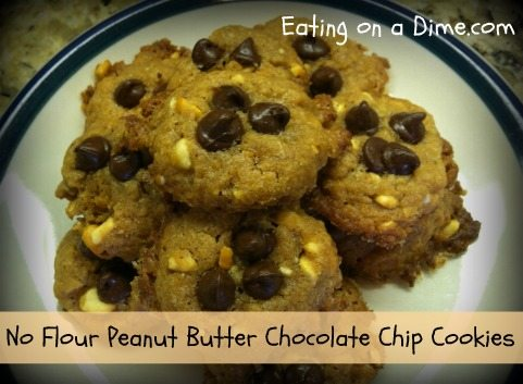 No Flour Peanut Butter Chocolate Chip Cookies