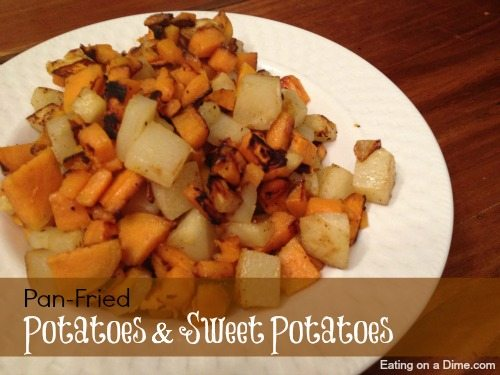 Pan-Fried Potatoes & Sweet Potatoes Recipe