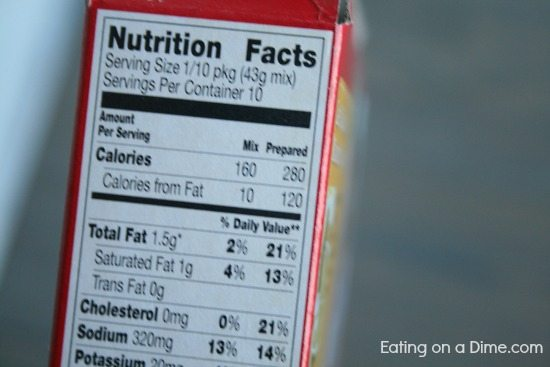 Nutritian facts on the cake mix