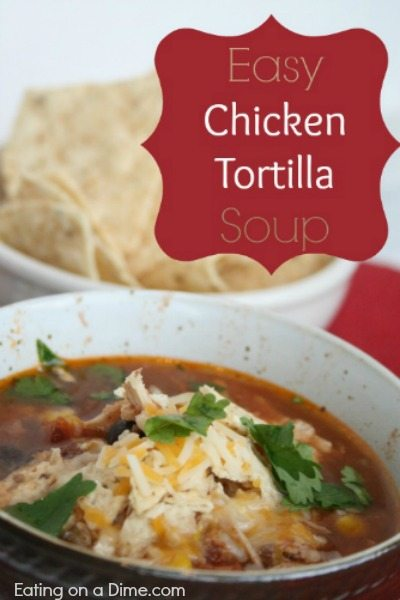 Crockpot Chicken Tortilla Soup is easy to make in minutes!