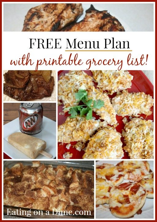 free weekly menu plan wtih printable grocery list