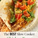 need an easy meal idea that will please the entire family... including the kids? Try this crockpot chicken tacos recipe