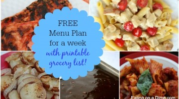 free weekly menu plan 725