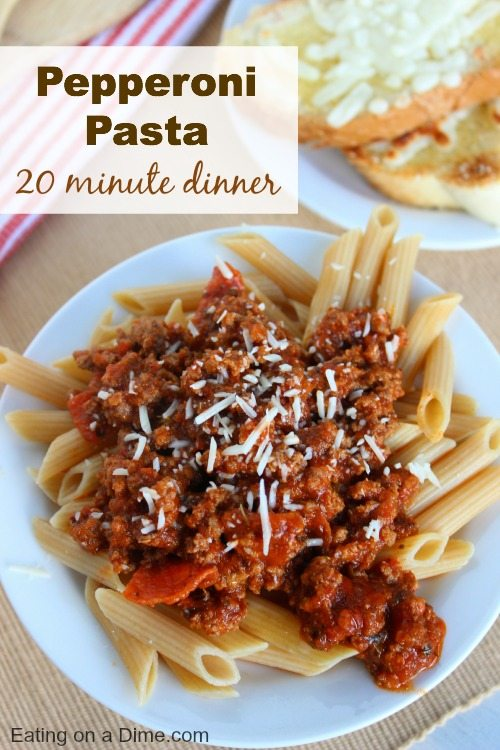 pepperoni pasta is an easy dinner idea. You can have dinner ready in under 20 minutes