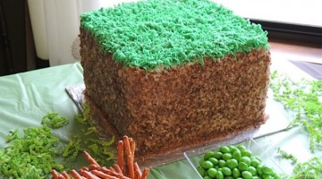 minecraft birthday cake - grass cake