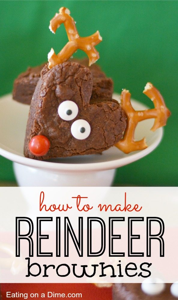 Easy to Make Reindeer Brownies via eatingonadime