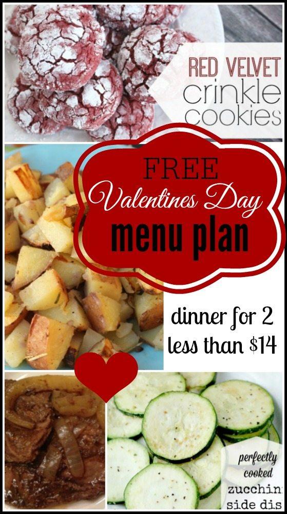 free valentines day menu plan
