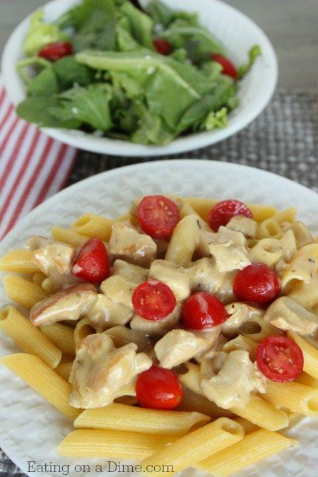 20 minute dinner idea - creamy chicken pasta