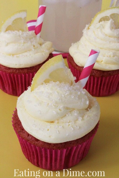 Strawberry lemonade cupcakes are perfect for summer
