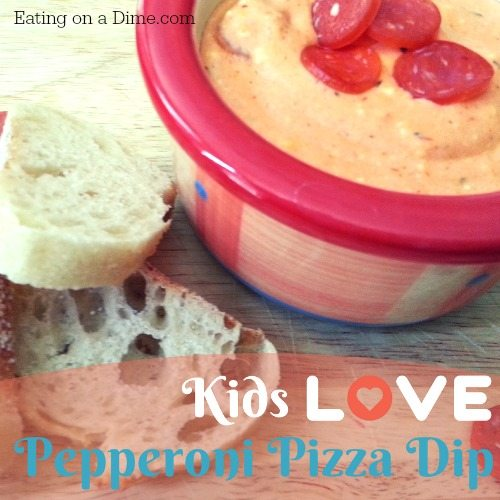 Try out this easy Pepperoni pizza dip for a fun after school snack!