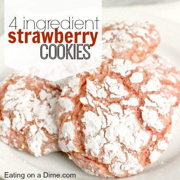4 ingredient strawberry cookies - square