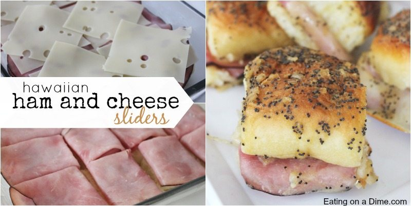 Looking for an easy dinner idea or appetizer? This Hawaiian ham and cheese sliders recipe are easy to make. They are the best Hot Ham and cheese sliders! Try this quick and Easy ham sliders recipe today!