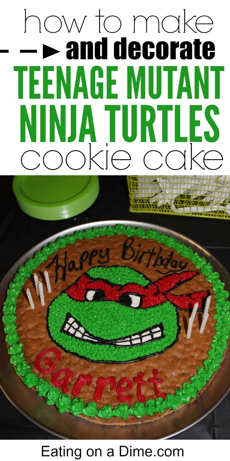 Surprising Easy To Make Ninja Turtle Cookie Cake Eating On A Dime Personalised Birthday Cards Petedlily Jamesorg