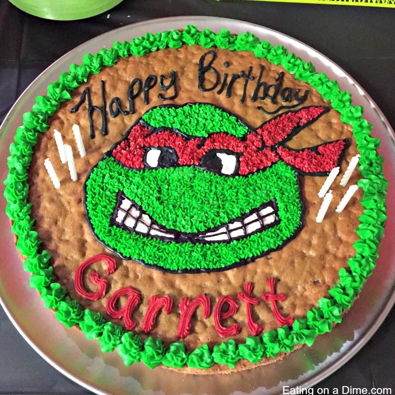 Easy to make - Ninja Turtle Cookie Cake - Eating on a Dime