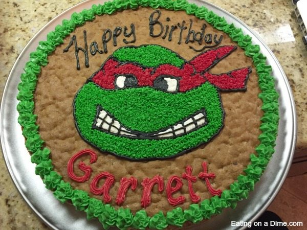 Easy to make Ninja Turtle Cookie Cake Eating on a Dime